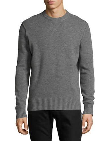Black Brown 1826 Crew Neck Wool Sweater-DARK GREY-X-Large