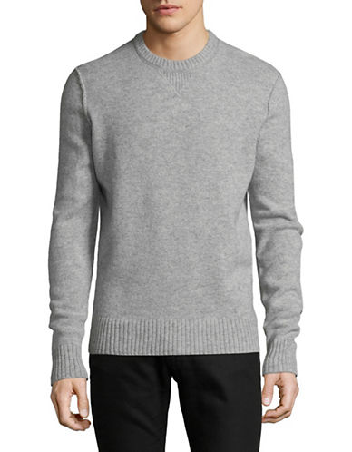 Black Brown 1826 Crew Neck Wool Sweater-GREY-X-Large
