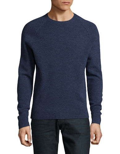 Black Brown 1826 Crew Neck Lambswool Sweater-INDIGO-Large