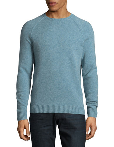 Black Brown 1826 Crew Neck Lambswool Sweater-BLUE-X-Large