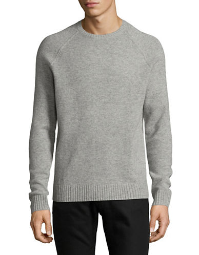 Black Brown 1826 Crew Neck Lambswool Sweater-GREY-X-Large
