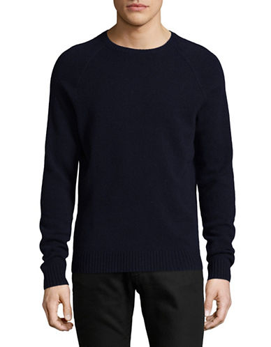 Black Brown 1826 Crew Neck Lambswool Sweater-NAVY-Small