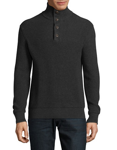 Black Brown 1826 Mock Neck Sweater-GREY-Small