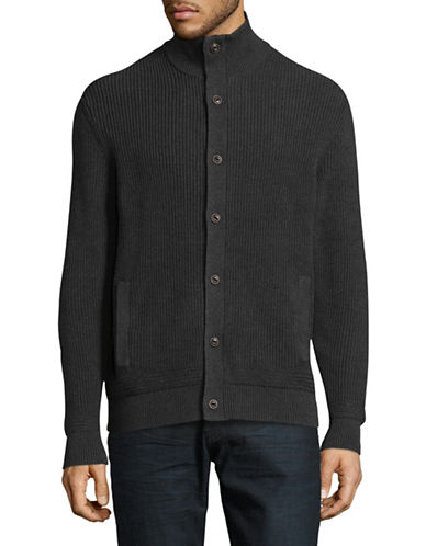 Black Brown 1826 Mock Neck Cardigan-GREY-Medium