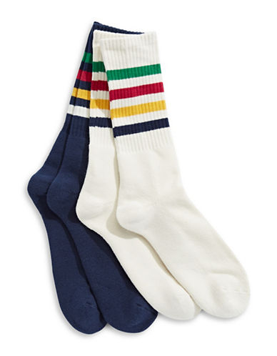 HudsonS Bay Company Two-Pack Striped Mid-Calf Socks Set-MULTI-One Size