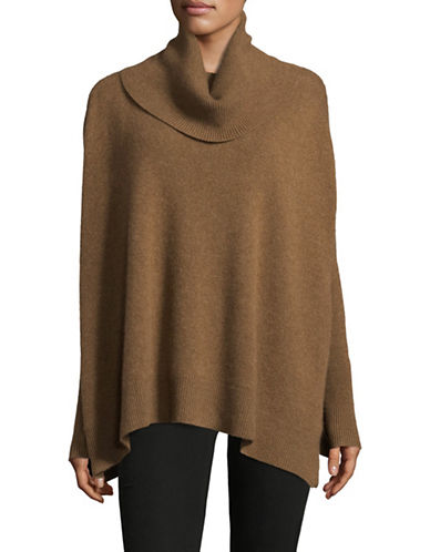 Lord & Taylor Cowl Neck Cashmere Poncho-SANDSHELL-Small/Medium