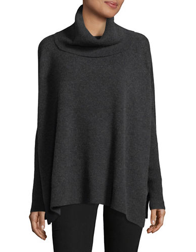 Lord & Taylor Cowl Neck Cashmere Poncho-CHARCOAL HEATHER-Small/Medium