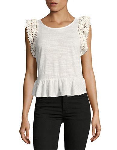 Highline Collective Crochet Sleeve Peplum T-Shirt-WHITE-X-Small