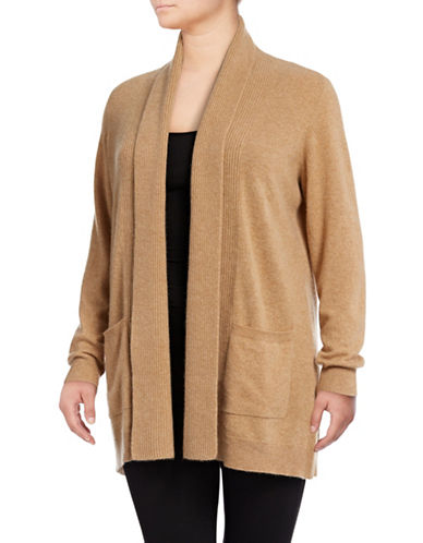 Lord & Taylor Plus Mix-Gauge Cashmere Cardigan-CLASSIC CAMEL-2X
