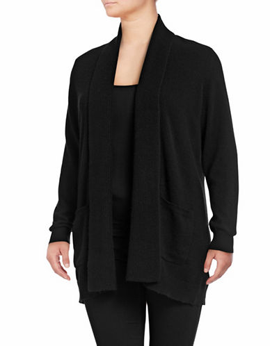 Lord & Taylor Plus Mix-Gauge Cashmere Cardigan-EBONY-2X