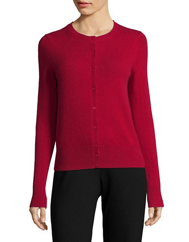 Lord & Taylor Petite Cashmere Cardigan-GARNET-Petite X-Small