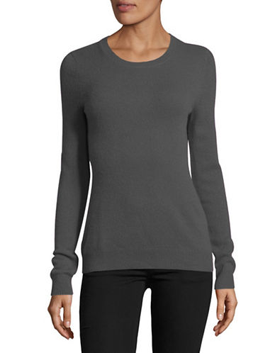 Lord & Taylor Crew Neck Cashmere Sweater-PEWTER HEATHER-Large