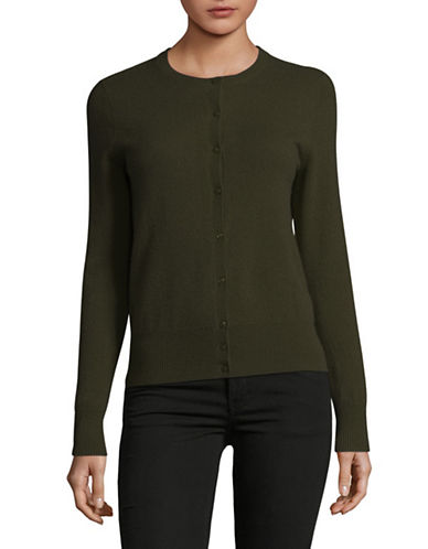 Lord & Taylor Cashmere Cardigan-OLIVE HEATHER-Large