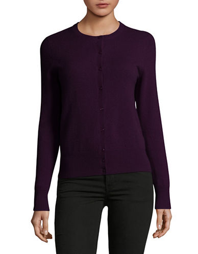 Lord & Taylor Cashmere Cardigan-PURPLE HEATHER-X-Large