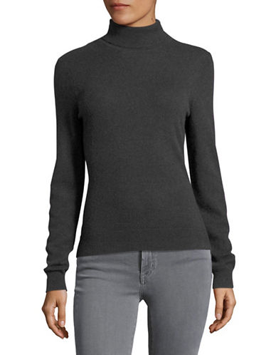 Lord & Taylor Cashmere Turtleneck Sweater-PEWTER HEATHER-X-Small