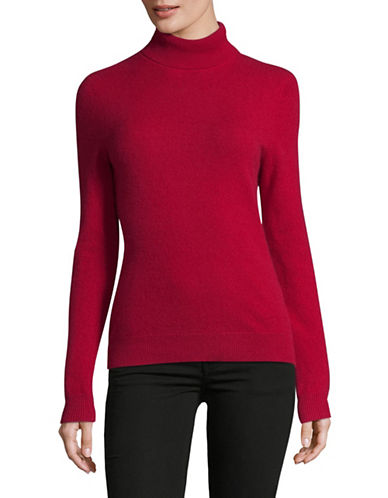 Lord & Taylor Cashmere Turtleneck Sweater-GARNET-X-Small