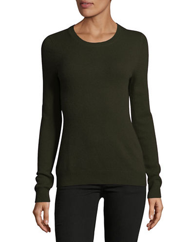 Lord & Taylor Crew Neck Cashmere Sweater-OLIVE HEATHER-Large