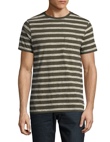 Manguun Striped T-Shirt-BROWN-X-Large