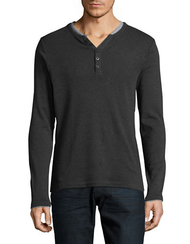 Manguun Organic Cotton Ringer Henley-CHARCOAL-Large