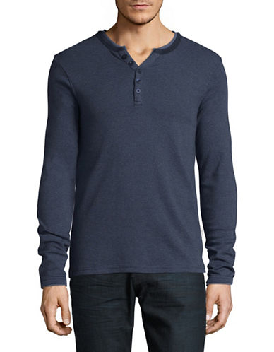 Manguun Organic Cotton Ringer Henley-BLUE-Medium