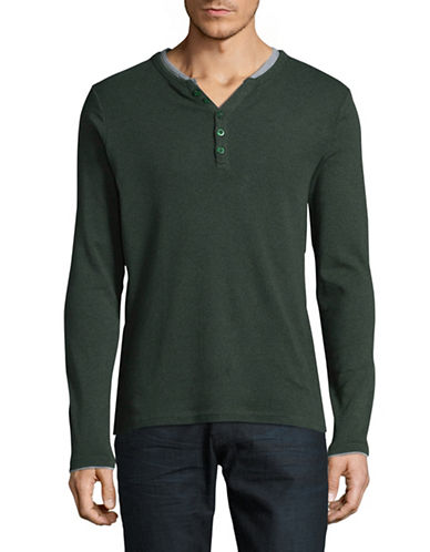 Manguun Organic Cotton Ringer Henley-GREEN-X-Large