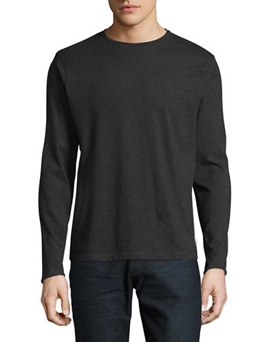 Manguun Solid Long Sleeve T-Shirt-CHARCOAL-X-Large