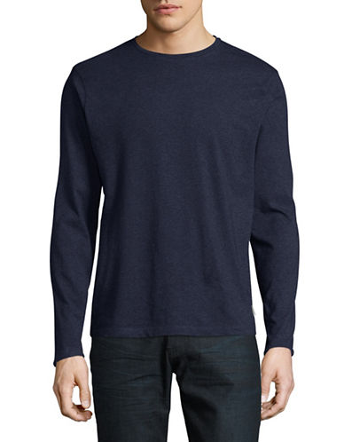 Manguun Solid Long Sleeve T-Shirt-BLUE-X-Large