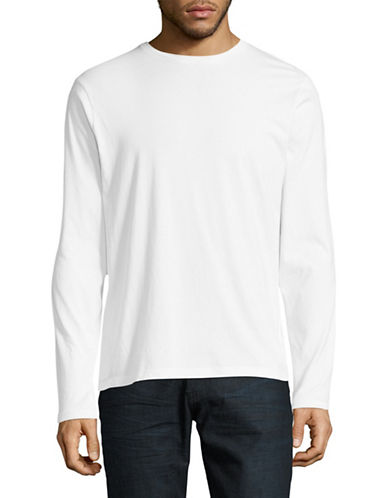 Manguun Solid Long Sleeve T-Shirt-WHITE-Medium