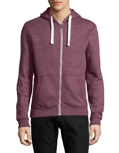 Manguun Full Zip Sweatshirt Hoodie-RED-Small