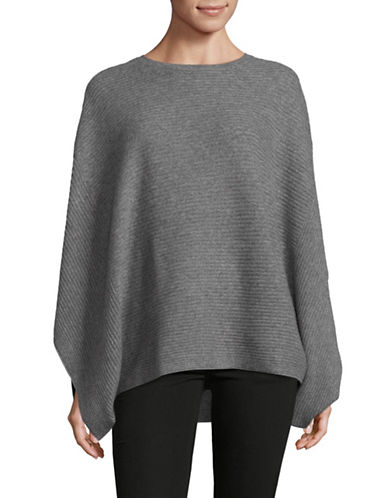 Lord & Taylor Boxy Cashmere Poncho-PEWTER-Small/Medium