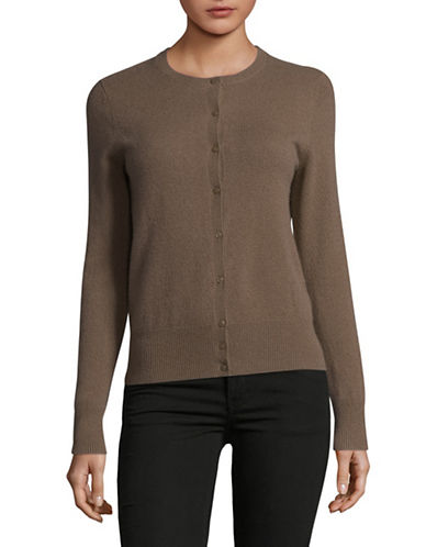 Lord & Taylor Cashmere Cardigan-PEBBLE HEATHER-Small