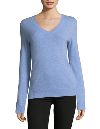 Lord & Taylor Cashmere V-Neck Sweater-GLACIER-Large
