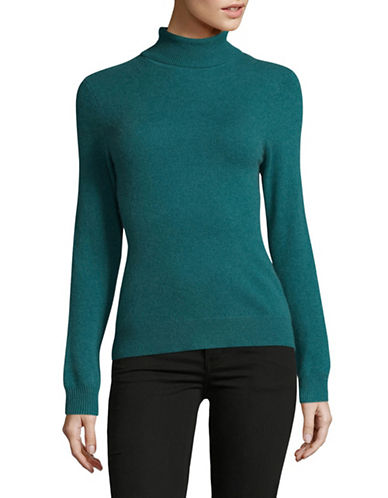 Lord & Taylor Cashmere Turtleneck Sweater-TURQUOISE-Small