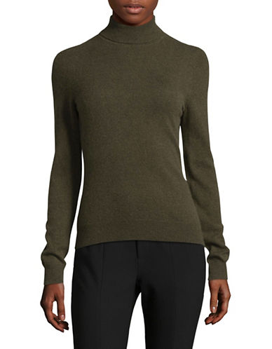 Lord & Taylor Cashmere Turtleneck Sweater-OLIVE HEATHER-Small