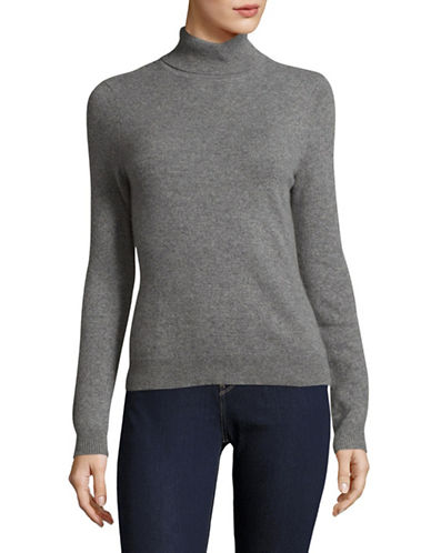 Lord & Taylor Petite Heathered Cashmere Turtleneck-PEWTER HEATHER-Petite Medium