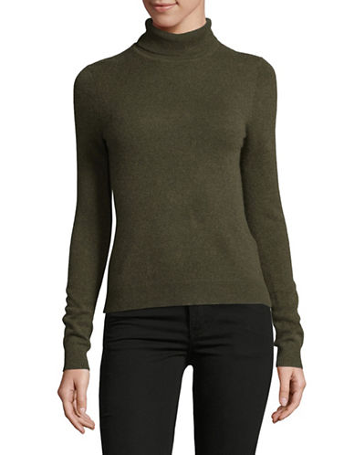 Lord & Taylor Petite Heathered Cashmere Turtleneck-OLIVE HEATHER-Petite Large