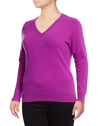 Lord & Taylor Plus Cashmere V-Neck Sweater-VIOLA-2X