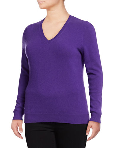 Lord & Taylor Plus Cashmere V-Neck Sweater-VIVID PURPLE-3X