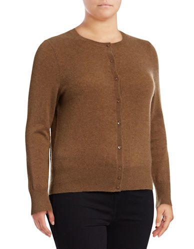 Lord & Taylor Plus Cashmere Cardigan-SANDSHELL HEATHER-0X