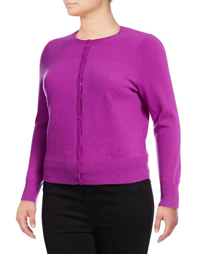 Lord & Taylor Plus Cashmere Cardigan-VIOLA-0X