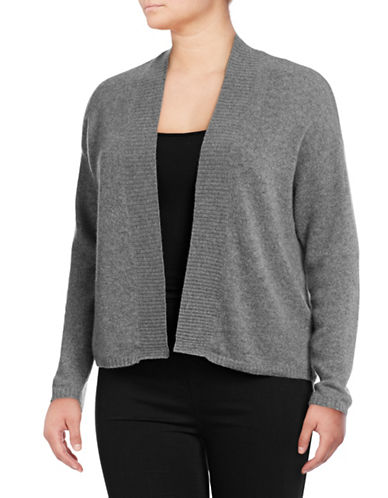 Lord & Taylor Plus Featherweight Cashmere Cardigan-PEWTER-1X