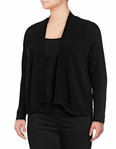 Lord & Taylor Plus Featherweight Cashmere Cardigan-EBONY-2X