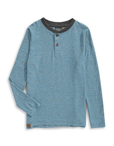Manguun Striped Henley Top-BLUE-Medium