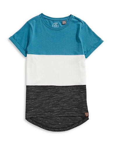 Manguun Pieced T-Shirt-BLUE-Medium