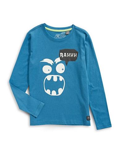 Manguun Rahhh Long Sleeve Graphic T-Shirt-BLUE-Small