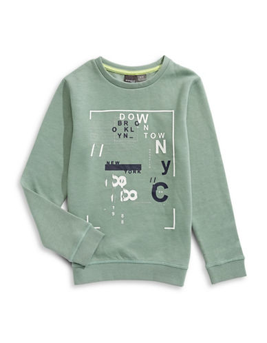 Manguun Fleece Graphic Sweatshirt-GREEN-Medium