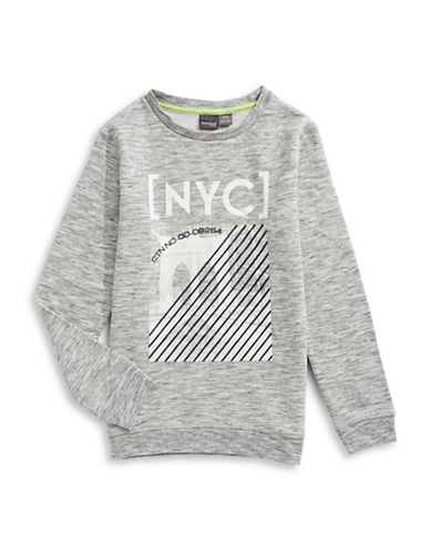 Manguun Fleece Graphic Sweatshirt-GREY-Large