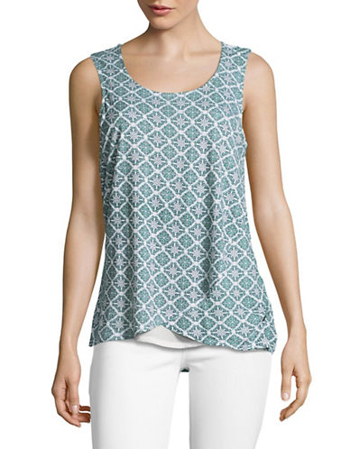 Manguun Layered Printed Tank-WHITE-Small