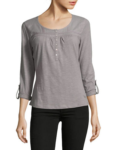 Manguun Tuck Yoke Cotton Blouse-GREY-X-Large
