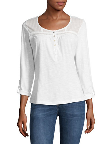 Manguun Tuck Yoke Cotton Blouse-WHITE-Small